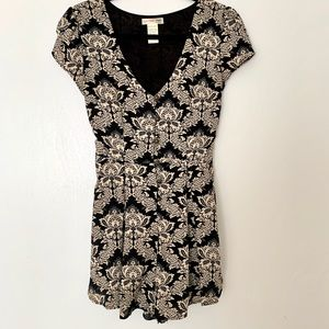 Black and Cream Patterned Romper
